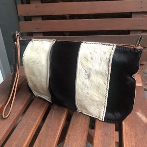 New Ponyhair Clutch / Wristlet Brown and Cream